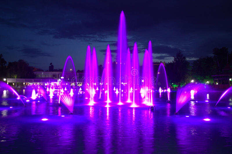 Magic night fountains,Plovdiv stock images