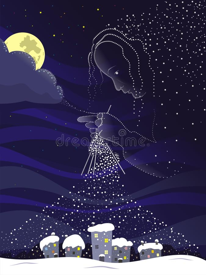 Magic night. Knits snow covered. Vector format