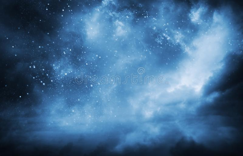 A magic night lanscape with starry sky and clouds stock photos