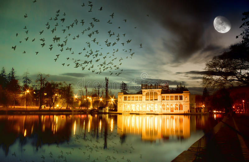 Magic night. Unusually colored fantasy night image with birds flying towards an illuminated lakeside mansion