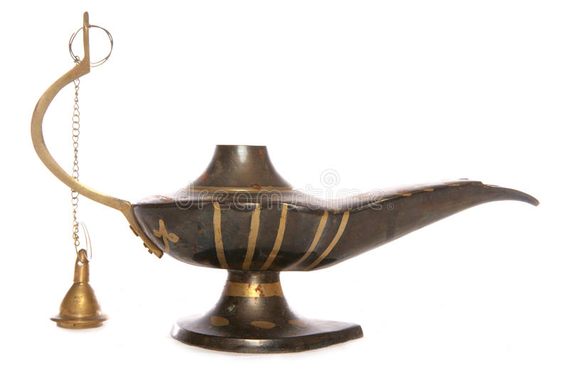 Magic Oil lamp. Old Magic oil Lamp studio cutout royalty free stock photo