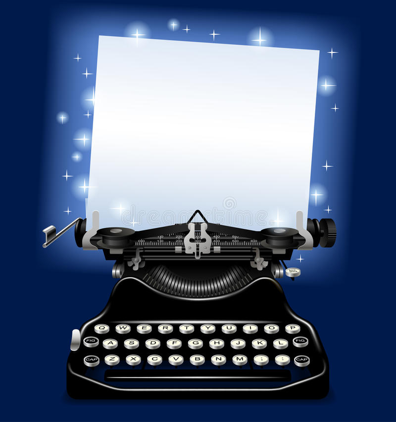 Magic old typewriter with a paper in blue scintillant light. There is in addition a vector format EPS 10 vector illustration
