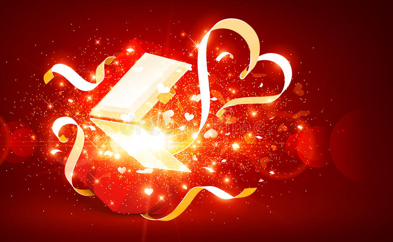 Magic open gift with hearts stock photography