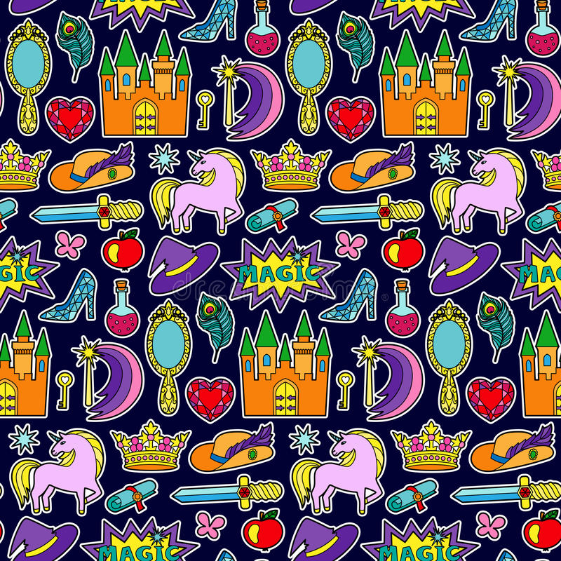 Magic Patch Seamless Pattern. Fashion patch seamless pattern with magic and fairy tale objects isolated on blue background. Pin badges and stickers collection royalty free illustration