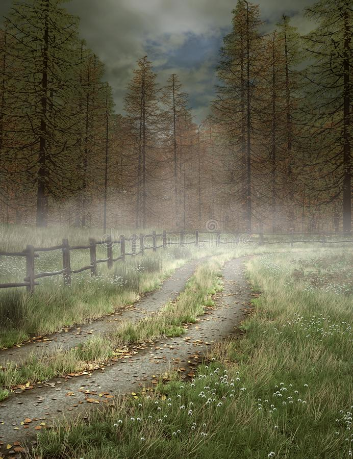 Magic path to the misty forest. Footpath in the middle of the enchanted firs forest – 3D illustration royalty free illustration