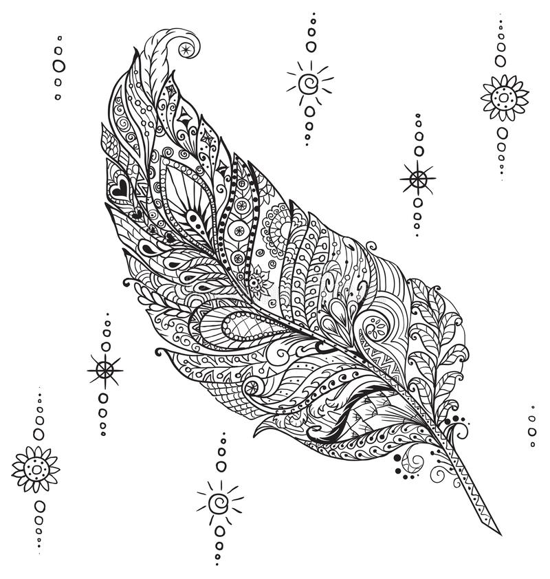 Magic Pen in the style of Zen art. The pen is in the style of Zen art, page coloring for adults. stylized bird feather royalty free illustration