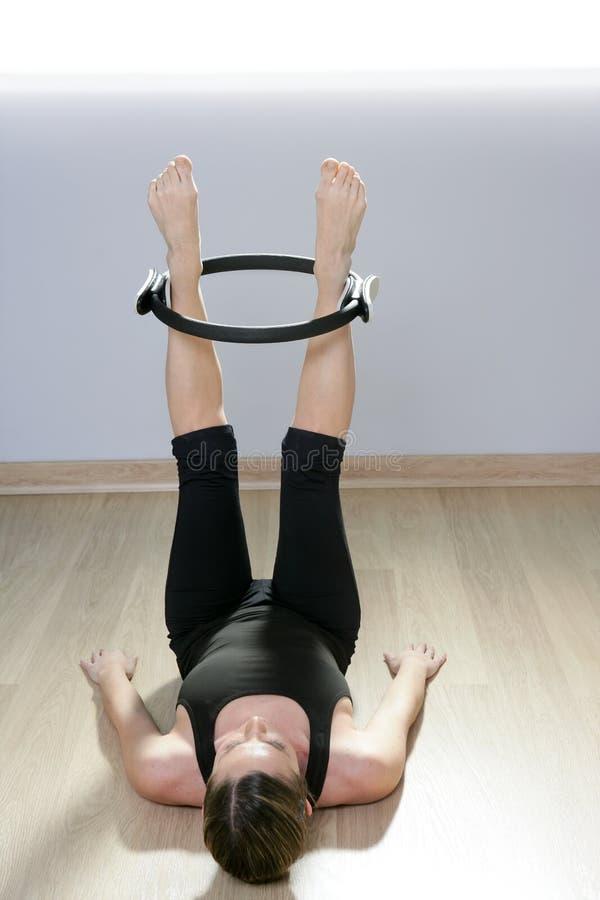 Magic pilates ring woman aerobics sport gym stock photos