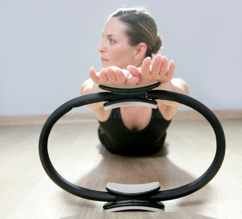 Magic pilates ring woman aerobics sport gym. Beautiful instructor woman with magic pilates ring in sport gym stock photos