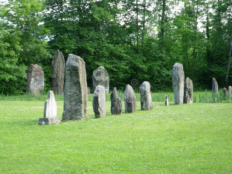 Magic Place in switzerland celtic Megalith. Magic celtic Place in switzerland. Megalith and Menhire. Druids and ceremonial place near Neuchatel in swiss stock photography