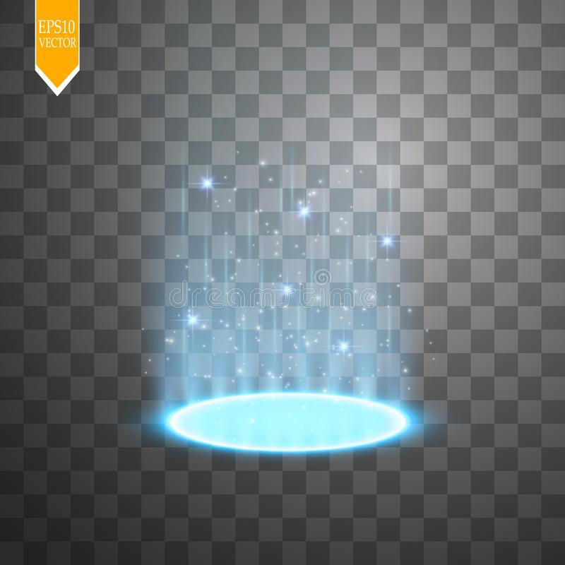 Magic portal of fantasy. Futuristic teleport. Light effect. Light rays of the night scene and sparks on a transparent vector illustration