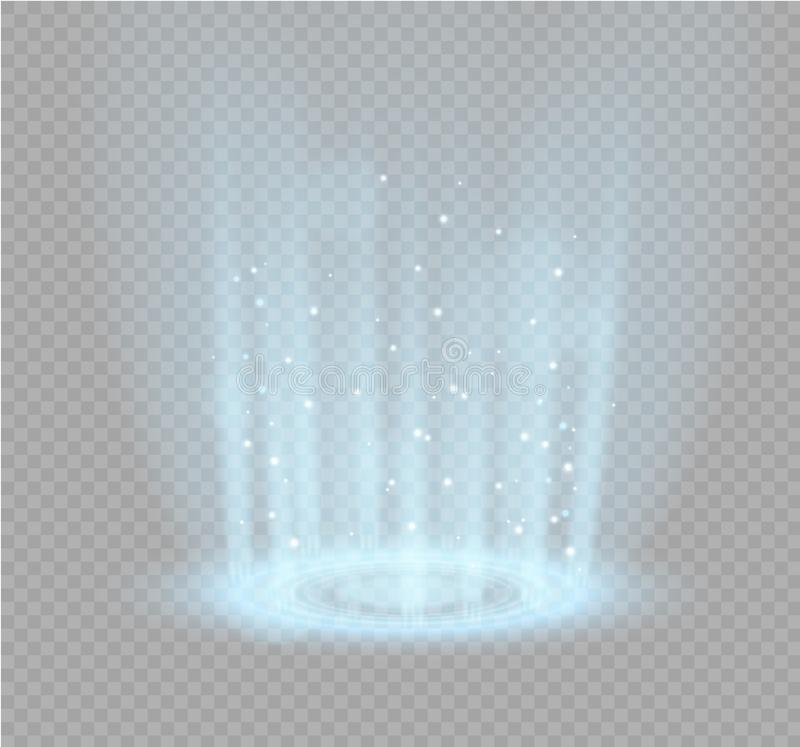 Magic portal of fantasy. Futuristic teleport. Light effect. Light rays of the night scene and sparks on a transparent stock illustration