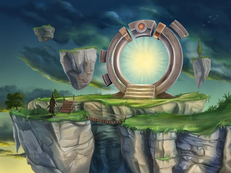 Magic portal in a surreal landscape. Digital illustration royalty free illustration
