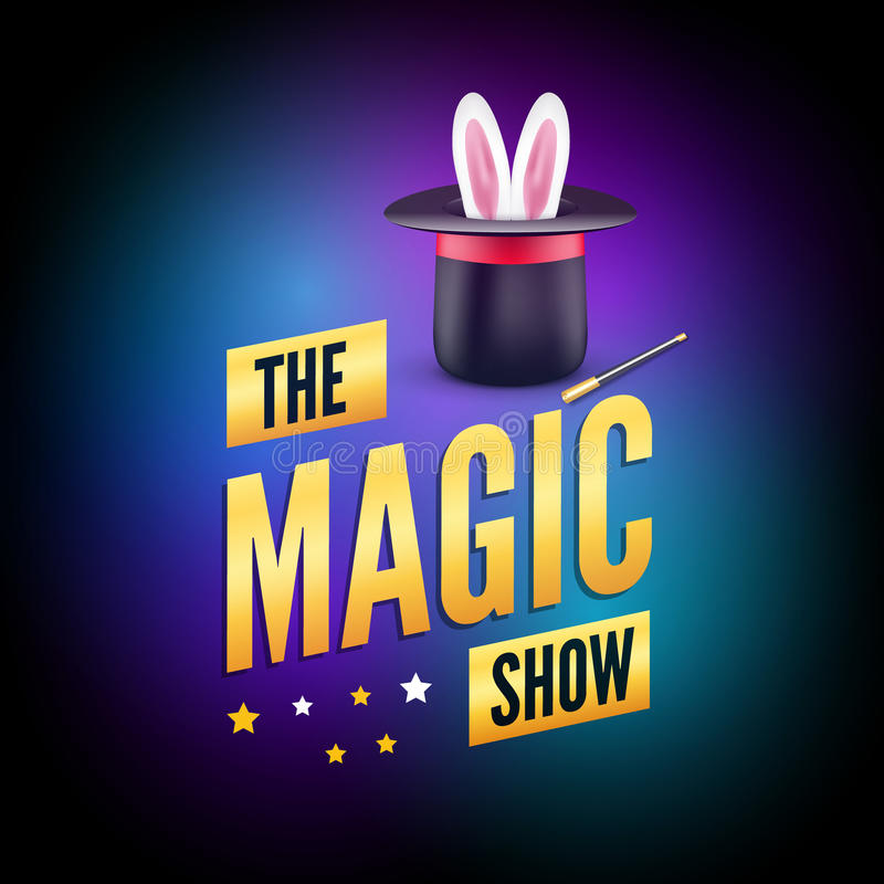 Magic poster design template. Magician logo concept with hat, rabbit and wand royalty free illustration
