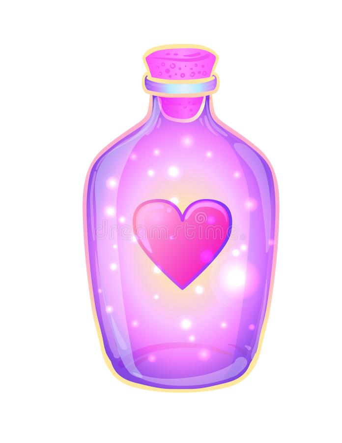 Magic potion: bottle jar with pink heart and glowing stars insid vector illustration