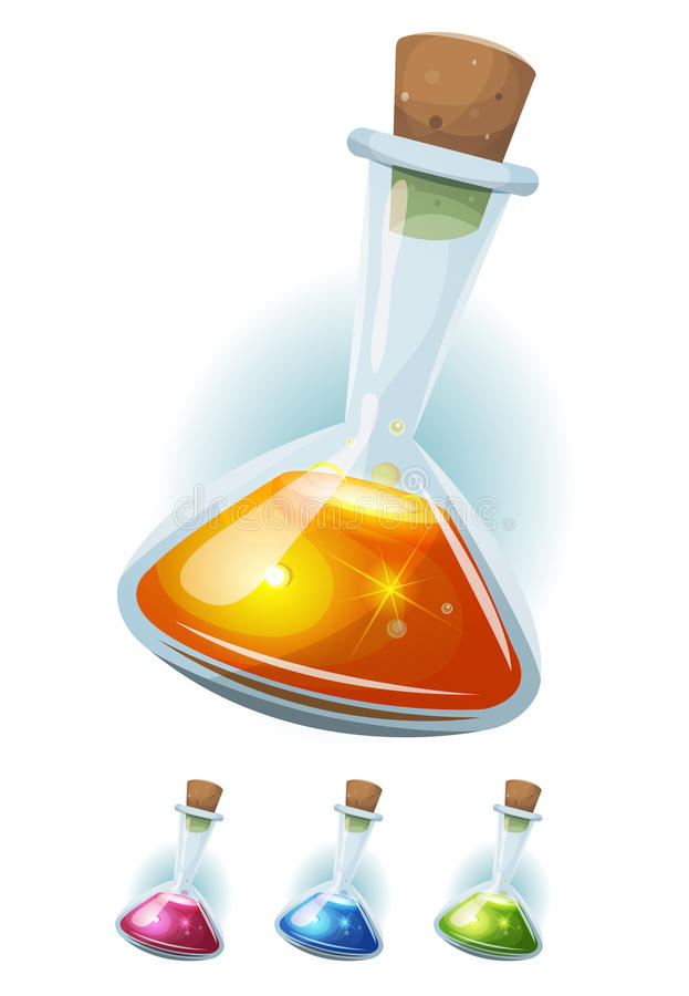 Magic Potion Flask With Elixir For Game Ui royalty free illustration