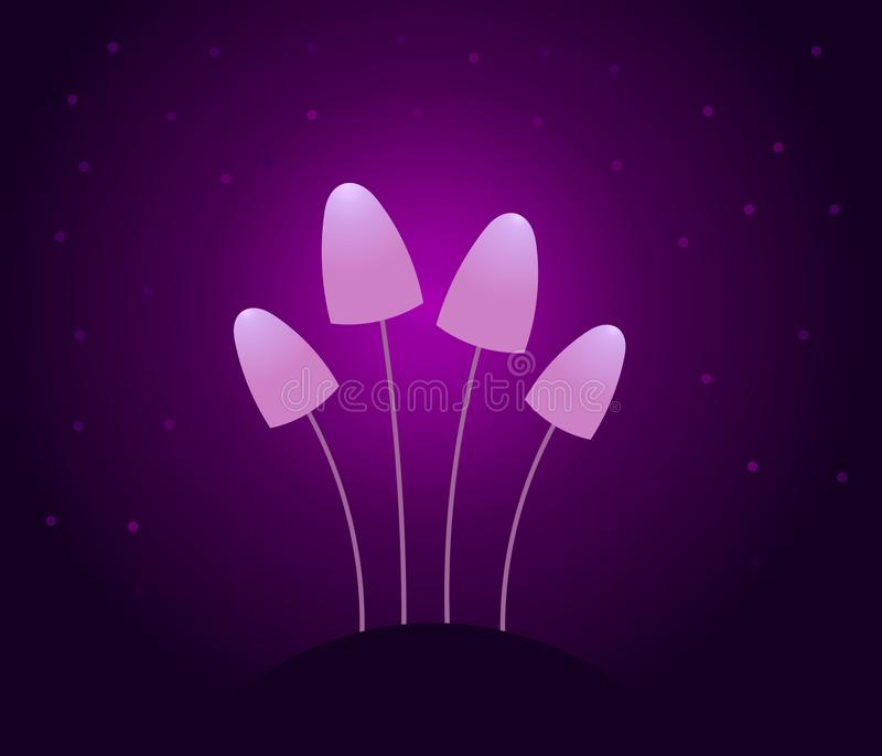 Magic purple mushrooms glowing in the dark vector illustration