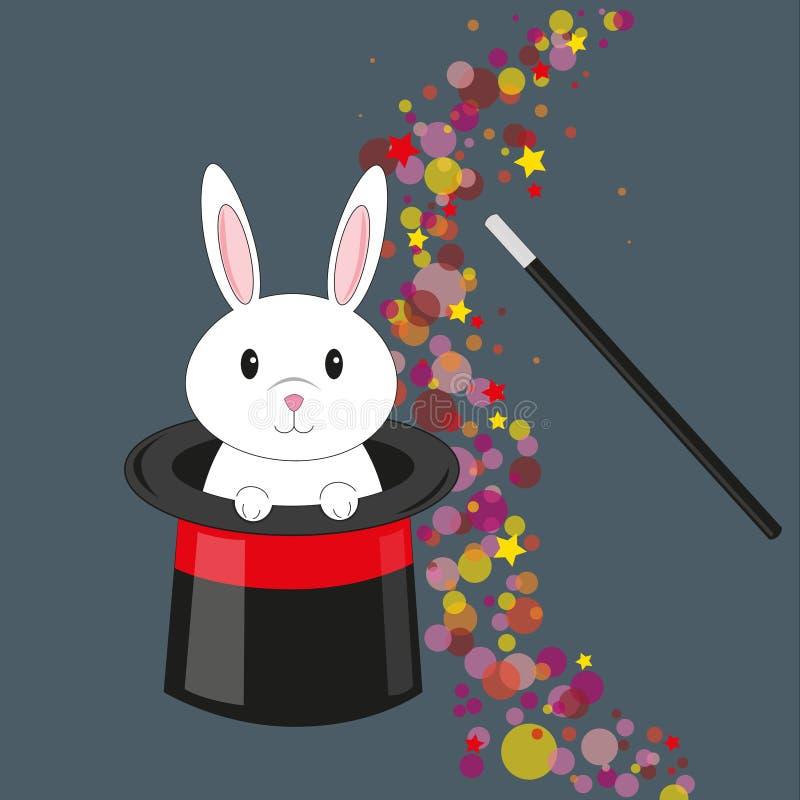 Magic rabbit in the hat. Vector stock image