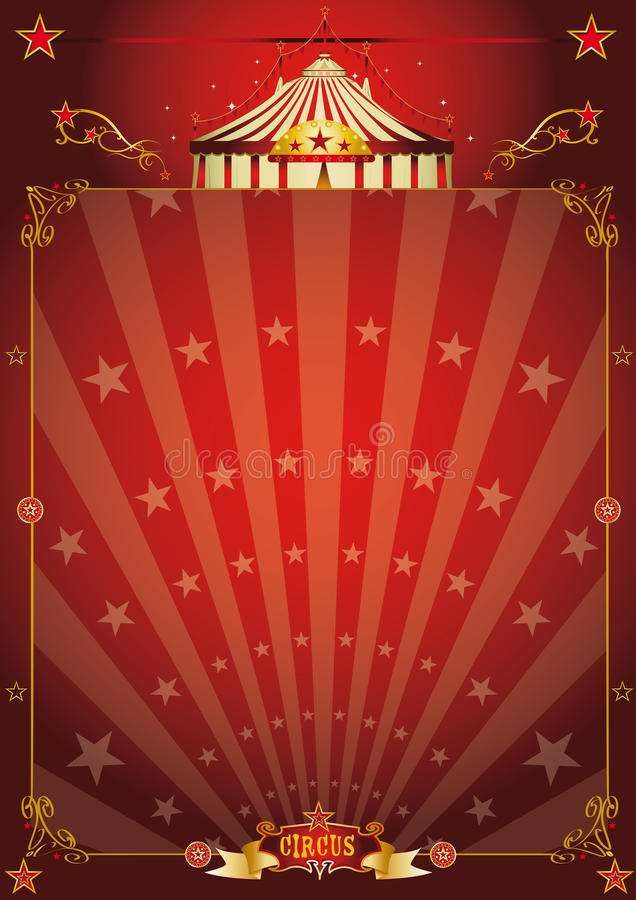 Magic red star circus poster stock image