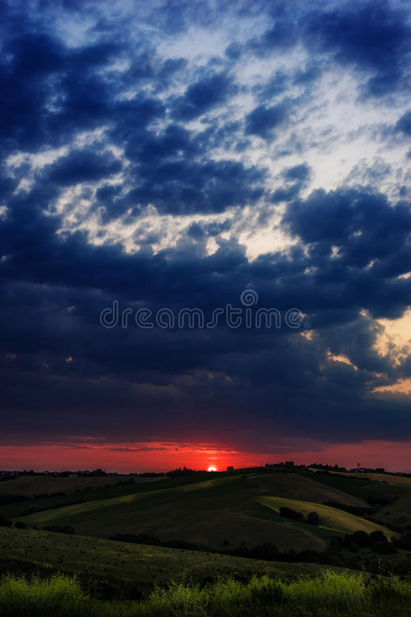 Magic red sunrise. Sunrise in the green coutryside royalty free stock image