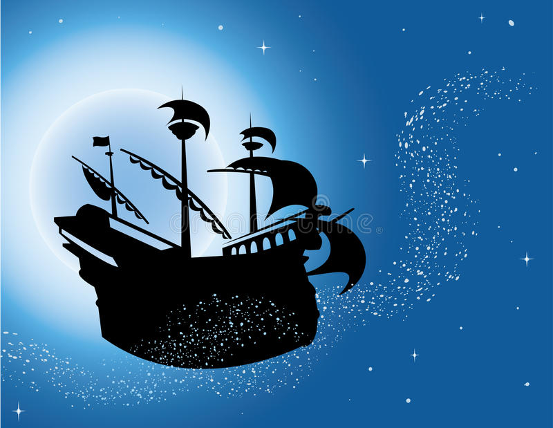 Magic sailing vessel silhouette in night sky stock illustration
