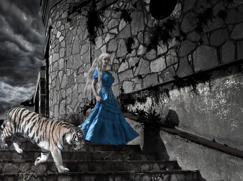 Magic scene- fantastic princess from fairy tale with a tiger on old tower steps. Magic scene- fantastic princess from fairy tale with a tiger on old tower stock photos