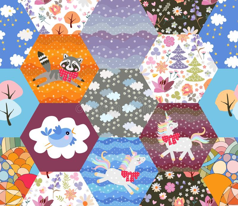 Magic seamless patchwork pattern with cute raccoon, unicorn, fox, bird, fairy forest and clouds. Quilting design for cozy home.  royalty free illustration