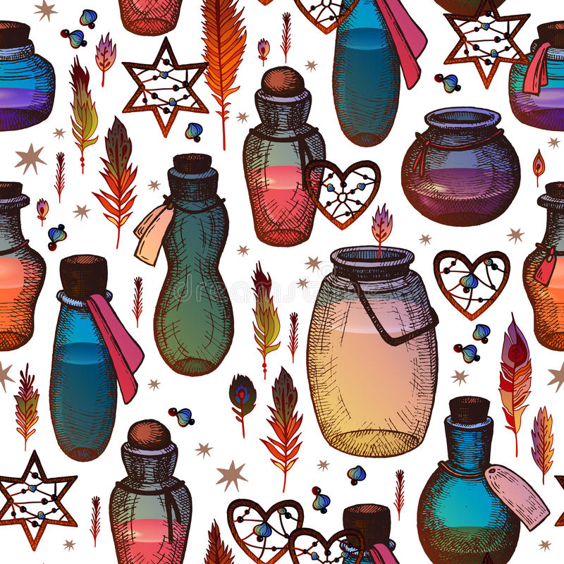 Magic seamless pattern with glass flasks. royalty free illustration