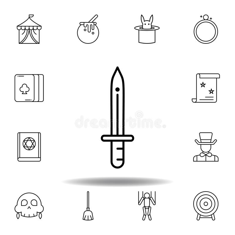 Magic security sword outline icon. elements of magic illustration line icon. signs, symbols can be used for web, logo, mobile app. UI, UX on white background vector illustration