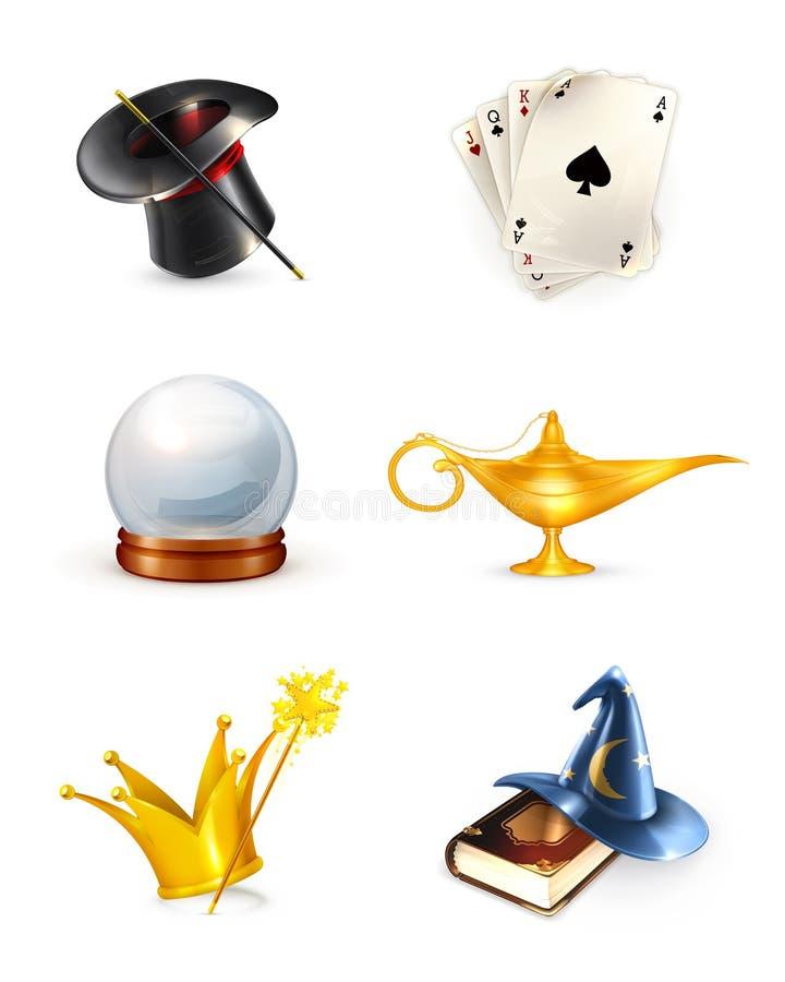 Magic set. Computer illustration on white background stock illustration