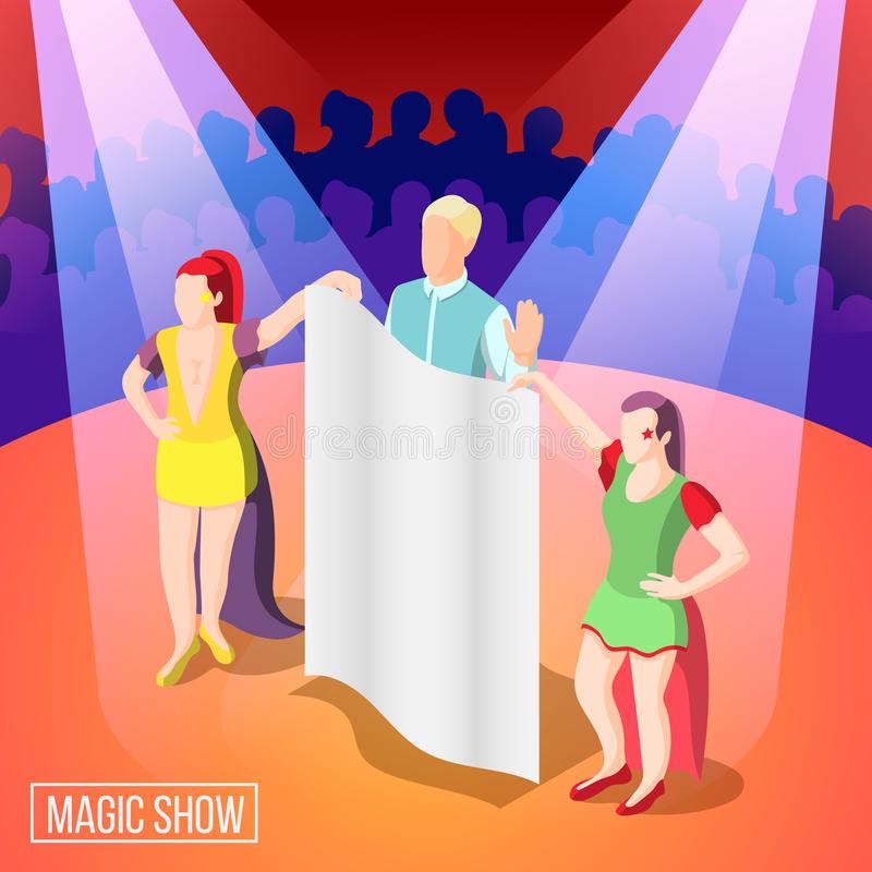 Magic Show Isometric Background vector illustration