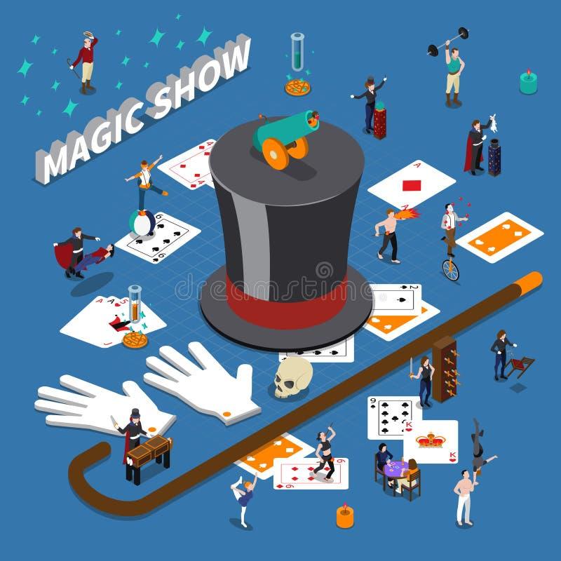 Magic Show Isometric Composition vector illustration