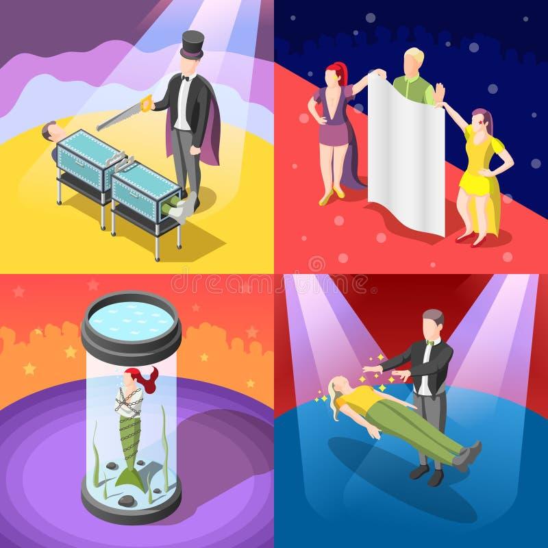 Magic Show Isometric Concept royalty free illustration