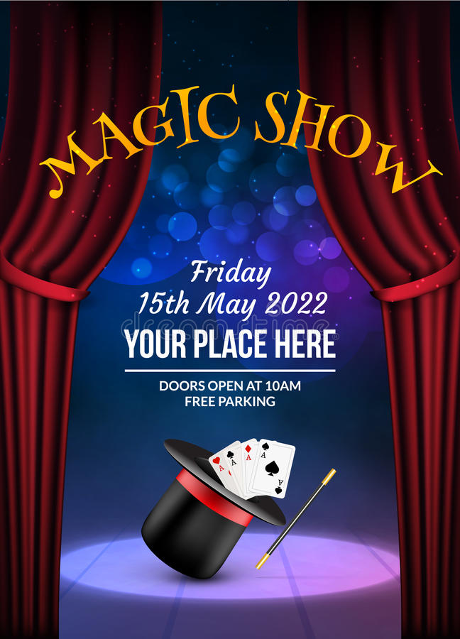 Magic Show poster design template. Illusion magical vector background. Theater magician flyer with hat trick stock illustration