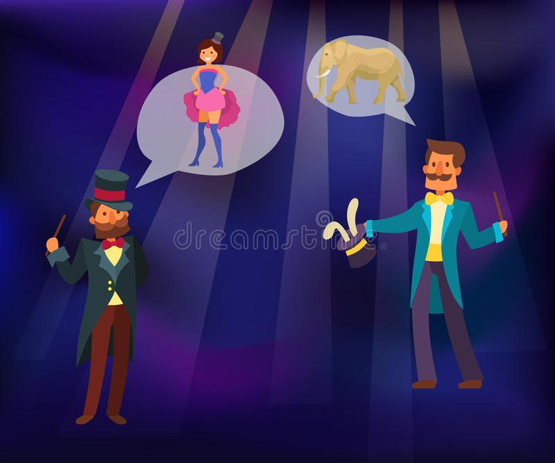 Magic show vector illustration. Magician conjured rabbit out of magical hat. Illusionist performing tricks with girl on royalty free illustration