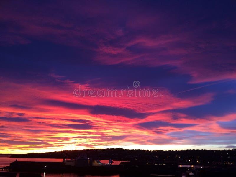 Magic Sky seaside beautiful soothing Pink sunset stock photography