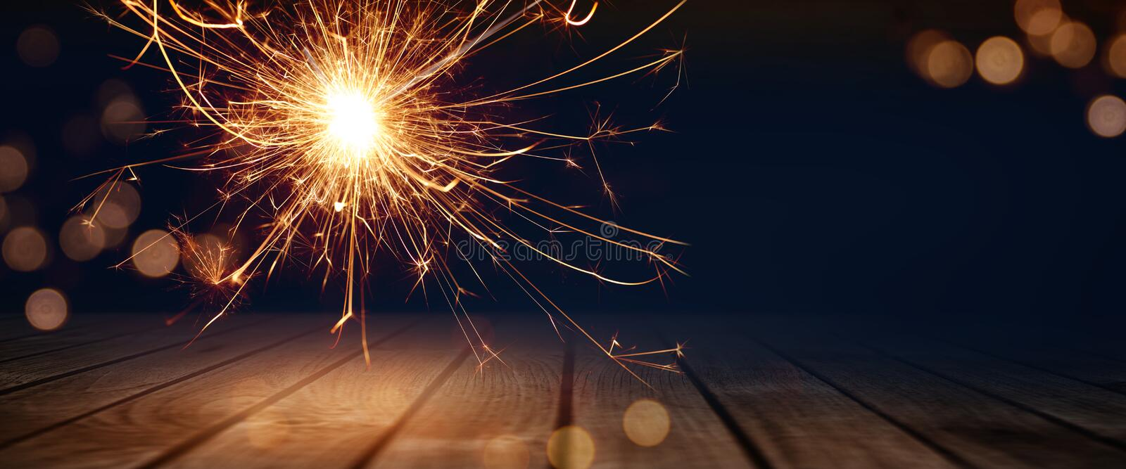 Magic spark on a stage with bokeh royalty free stock image
