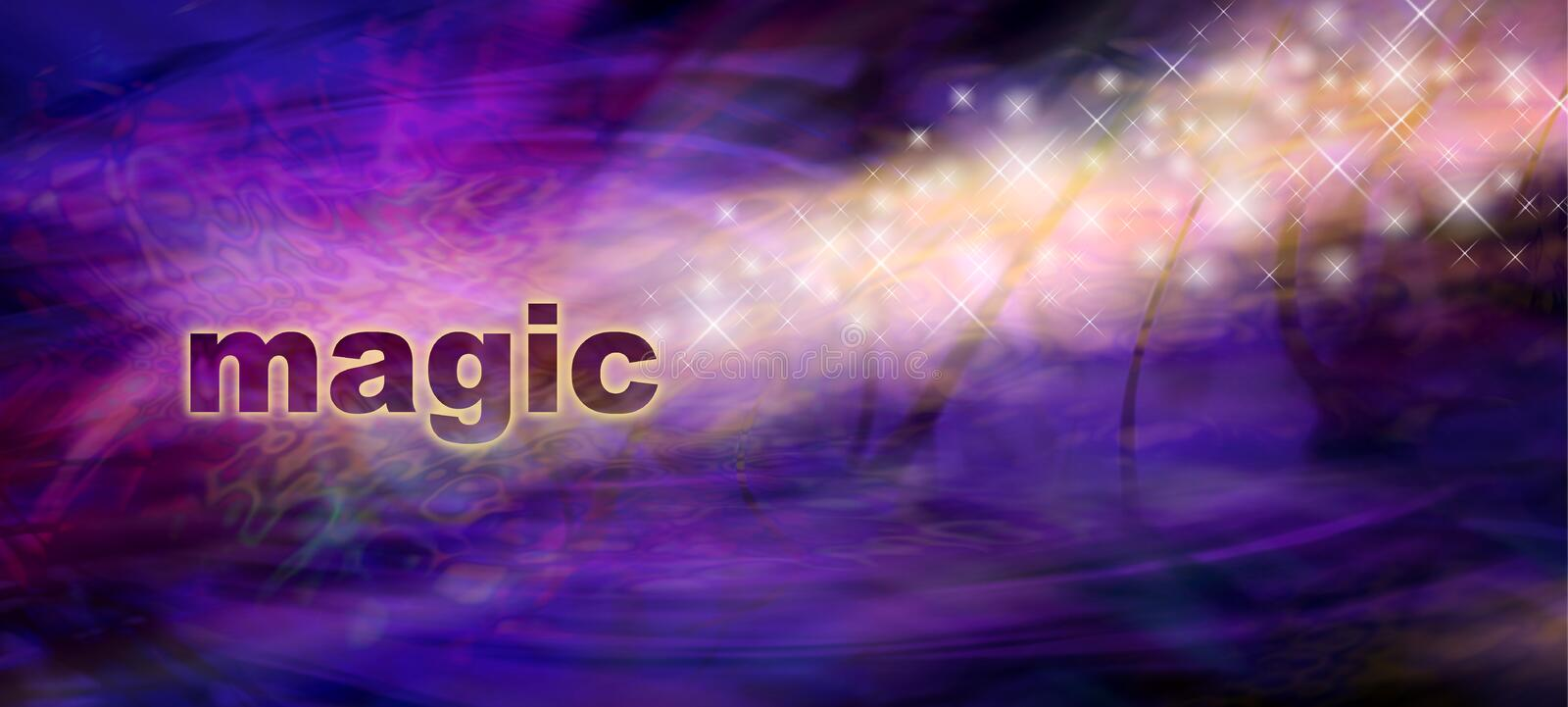 Magic Sparkles Website Banner. Stream of golden sparkles and glitter flowing from the word MAGIC on left side on a purple and black background with copy space vector illustration