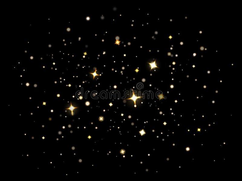Magic sparkling dust. Particles lighting magical sparkle stars, sparkling gold glitter stardust. Sparkle flare light royalty free illustration
