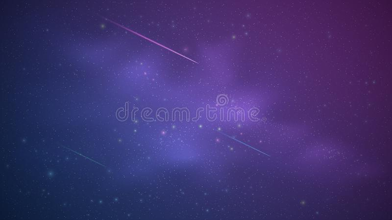 Magic Starry Sky with a luminous blue and purple milky way. Shooting stars. Falling comets. Shining stars. Background for your des stock photography