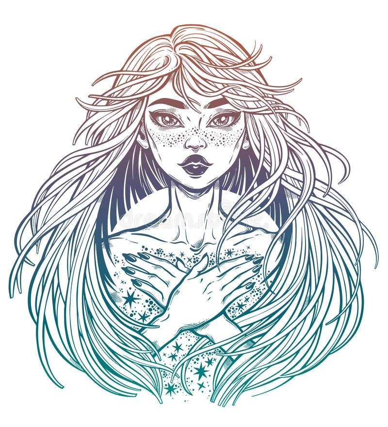 Magic starry witch girl. Young woman with long hair blown by the wind with a body covered with stars. Alchemy, tattoo art, t-shirt design, adult coloring book stock illustration