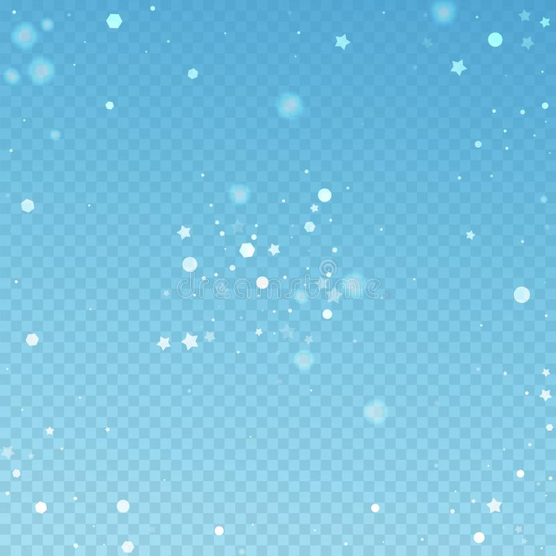 Magic stars random Christmas background. Subtle fl. Ying snow flakes and stars on blue transparent background. Actual winter silver snowflake overlay template vector illustration