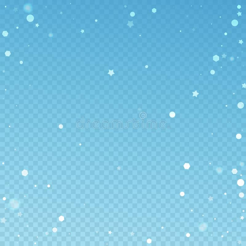 Magic stars random Christmas background. Subtle fl. Ying snow flakes and stars on blue transparent background. Amazing winter silver snowflake overlay template stock illustration