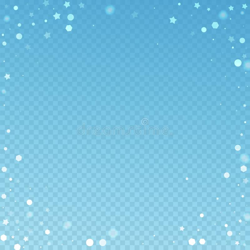 Magic stars random Christmas background. Subtle fl. Ying snow flakes and stars on blue transparent background. Amusing winter silver snowflake overlay template stock illustration