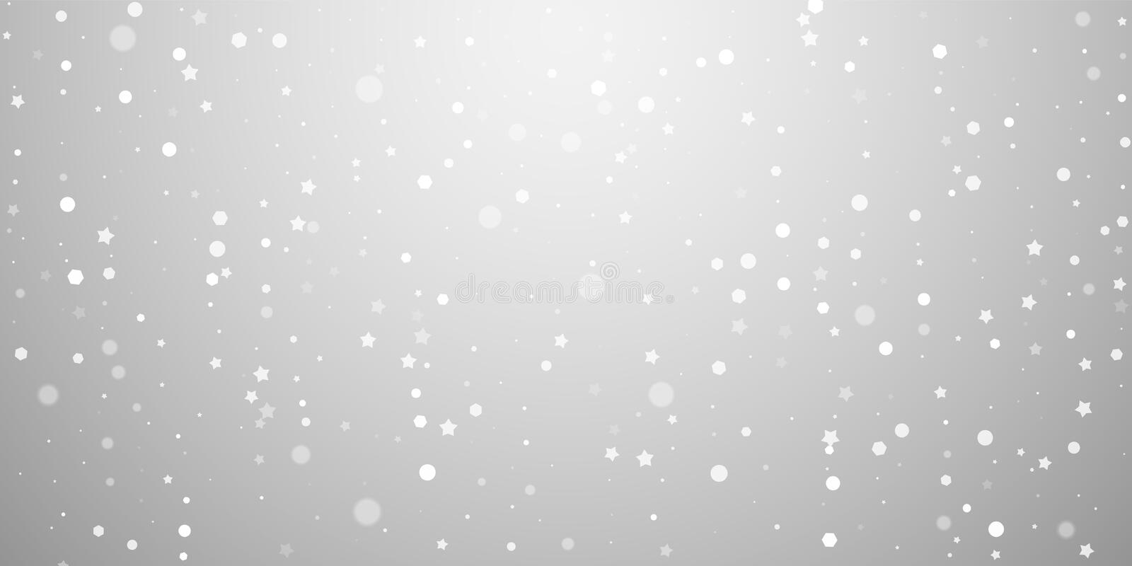 Magic stars random Christmas background. Subtle fl. Ying snow flakes and stars on light grey background. Awesome winter silver snowflake overlay template. Cute royalty free illustration
