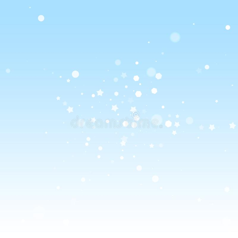 Magic stars random Christmas background. Subtle fl. Ying snow flakes and stars on winter sky background. Authentic winter silver snowflake overlay template vector illustration