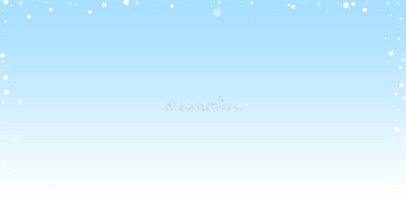 Magic stars random Christmas background. Subtle fl. Ying snow flakes and stars on winter sky background. Awesome winter silver snowflake overlay template royalty free illustration