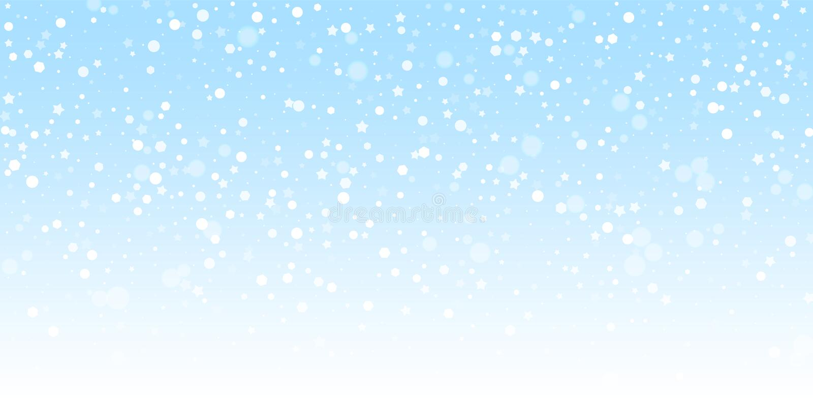 Magic stars random Christmas background. Subtle fl. Ying snow flakes and stars on winter sky background. Beauteous winter silver snowflake overlay template vector illustration