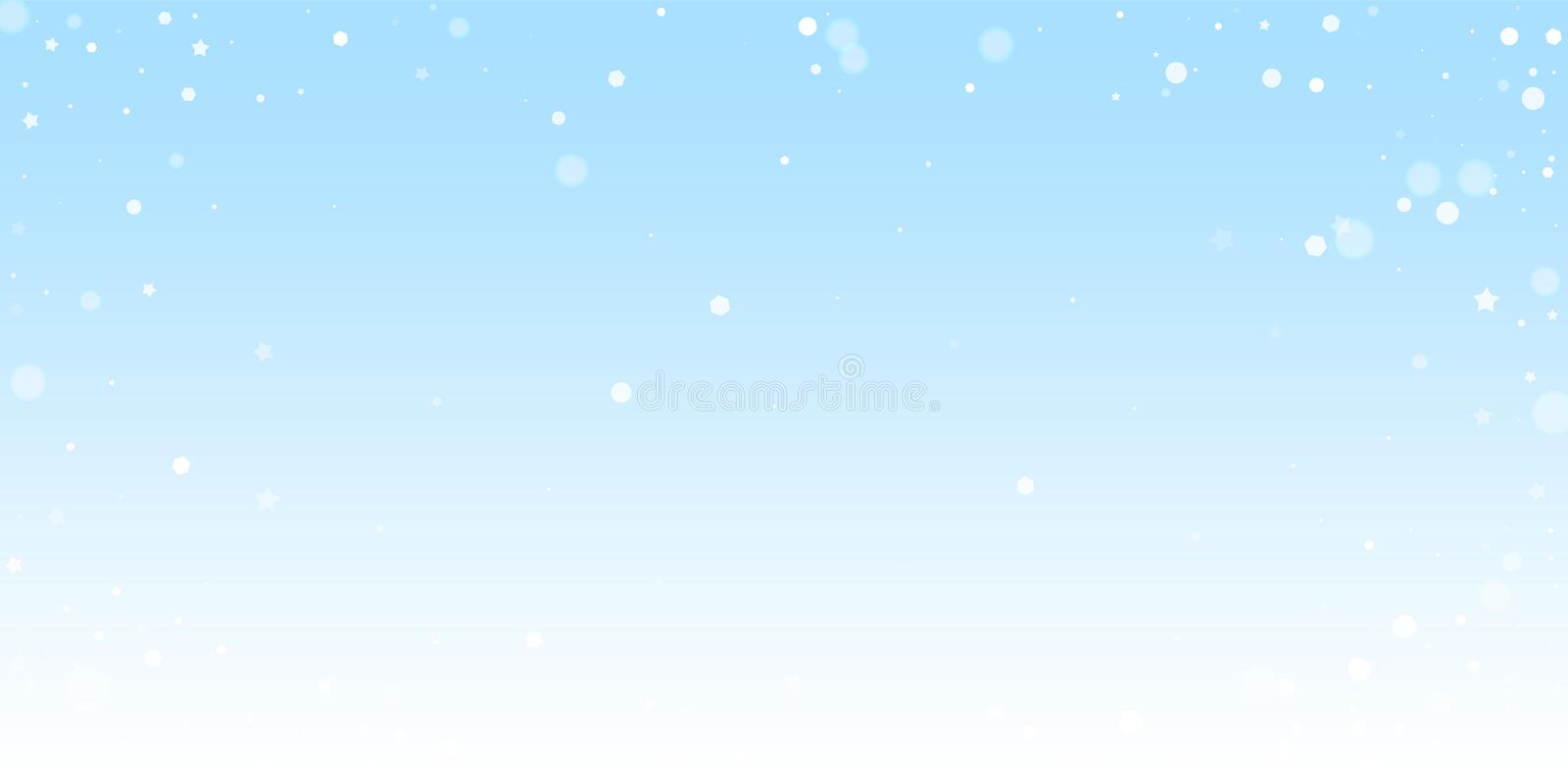 Magic stars random Christmas background. Subtle fl. Ying snow flakes and stars on winter sky background. Beautiful winter silver snowflake overlay template. Rare royalty free illustration
