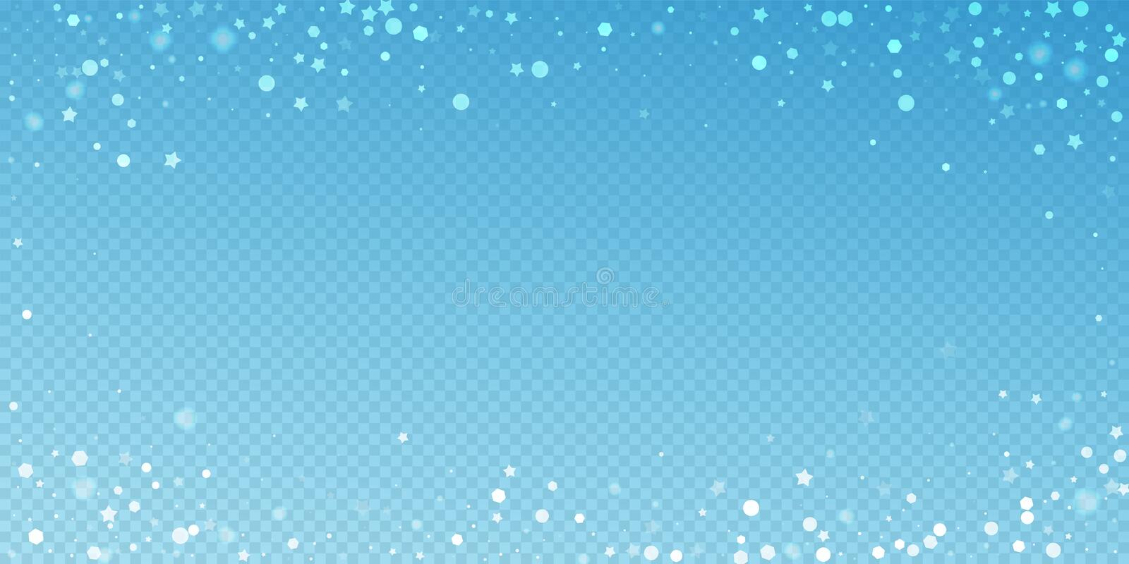Magic stars random Christmas background. Subtle fl. Ying snow flakes and stars on blue transparent background. Bewitching winter silver snowflake overlay vector illustration