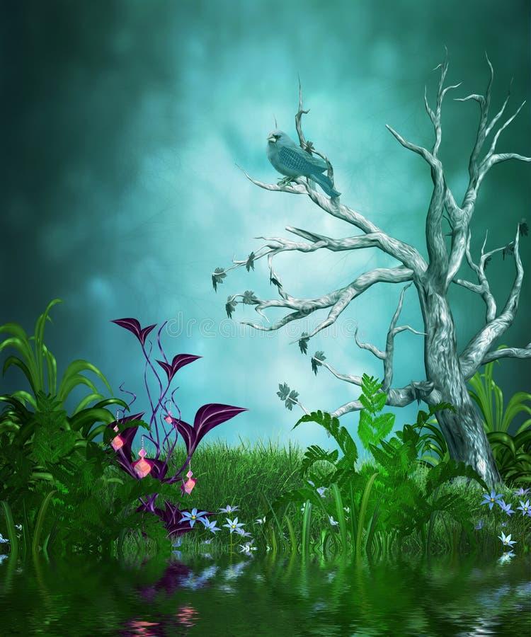 Magic summer garden stock illustration